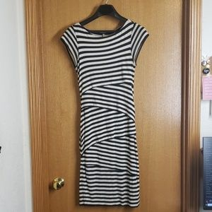 Anthro Bailey 44 Striped Tiered Dress Blue/White S